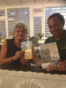 David Bradshaw and Angela Atkinson with respective copies of Growing up Barefoot and Swindon in 50 Buildings