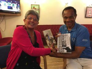David Bradshaw and Angela Atkinson with Swimming without Mangos and a Born Again Swindonians guide book