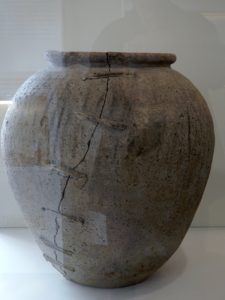 My Memories of Swindon Museum - Large-second-century-Savernake-ware-pottery-vessel-that-had-been-repaired-with-lead-rivets.-Found-at-Highworth.-Pottery-kilns-in-Savernake-Forest-were-operating-in-the-later-first-and-second-century-AD. -